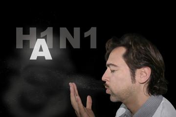Flu A H1N1 Swine flu contagious person sneezing