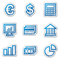 Finance web icons, blue contour sticker series
