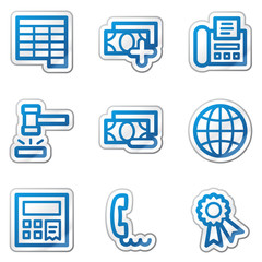 Finance web icons set 2, blue contour sticker series