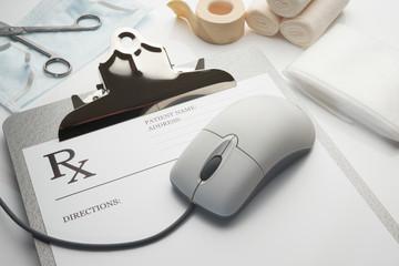Online rx prescription concept clipboard