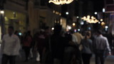 hundreds of defocus people walking on Crowded street at night poster