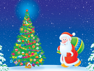 Santa Claus and Christmas tree