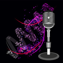Beautiful Retro Black Vector Microphone Background