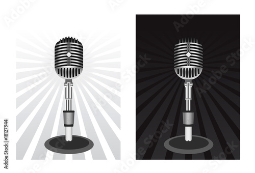 Beautiful Retro Black Vector Microphone
