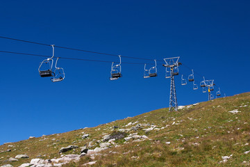 Empty cable cars in a swiss ski resort in summer