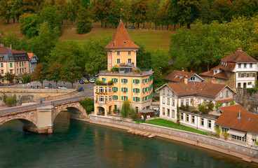 Houses in the historical center of Bern, Switzerland