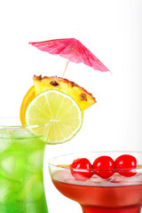 Green and red tropical cocktails