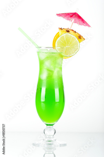 Green tropical cocktail with pineapple
