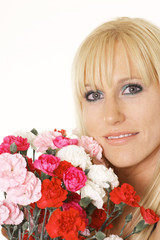 blonde with carnations