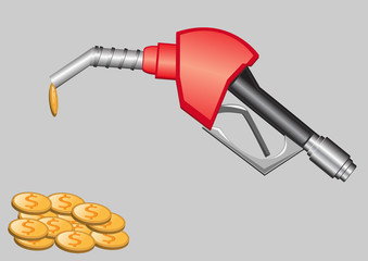 gas pump nozzle and money