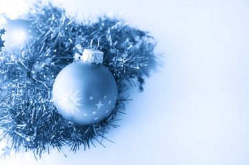 Christmas ball in blue decoration