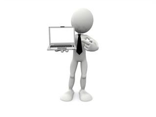 3D Businessman mostra un Lap Top