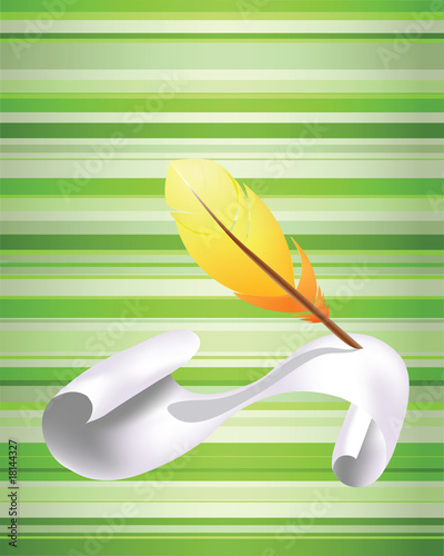 Yellow feather and paper
