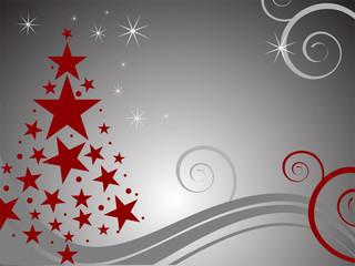 Silberner Hintergrund mit rotem Weihnachtsbaum
