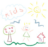 Kids drawing picture - pastel imitation - vector illustration poster