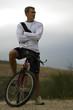 ciclista, ciclista subido en bicicleta de montaña