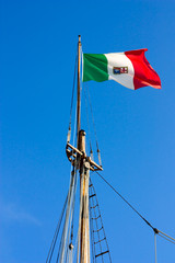 flag on the sailing ship