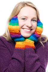 young beauty laugh woman in colorful gloves