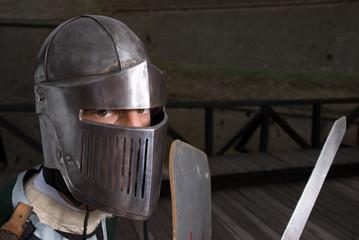Knight looking at camera