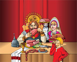Russian Duke eating the meal during the feast, vector poster