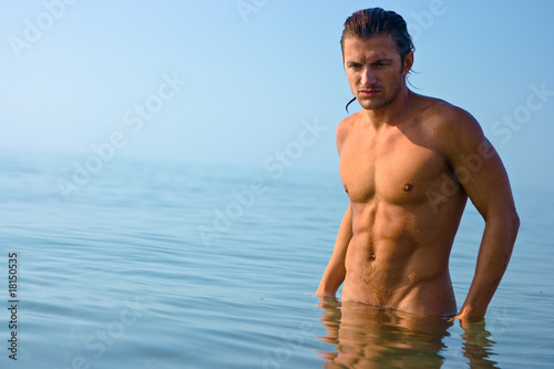 Male athlete in water
