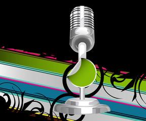 Modern glittering microphone