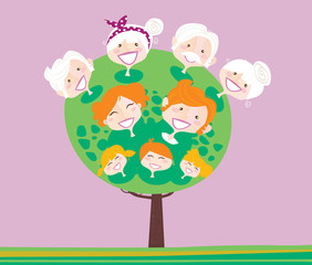 Triple generation family tree. VECTOR ILLUSTRATION.