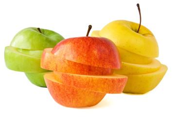 Roter, gelber und roter Apfel isoliert