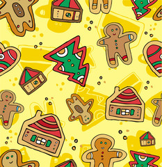 Christmas Seamless Gingerbread Pattern.