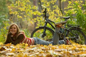 Beauty girl with bike.