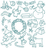 Christmas doodles, all objects are grouped, CMYK poster