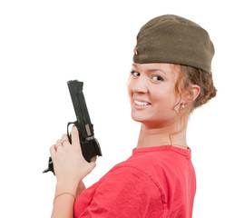 girl in overseas cap holding gun.