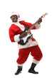 black santa claus playing electric guitar