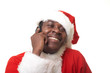 black santa claus talking by cellphone
