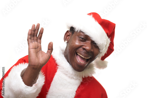 happy black santa claus over white background