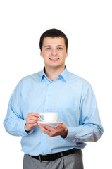 Young man holding cup of coffee (or tea) isolated on white