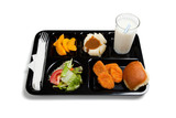 A black school lunch tray on a white background poster