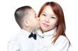 Asian Chinese boy kisses mum