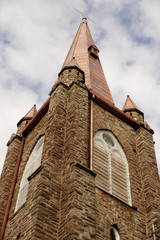 19th century church steeple with newly restored copper roof