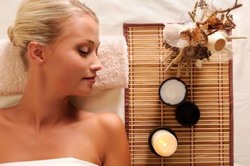 Young beautiful woman recreation in spa salon