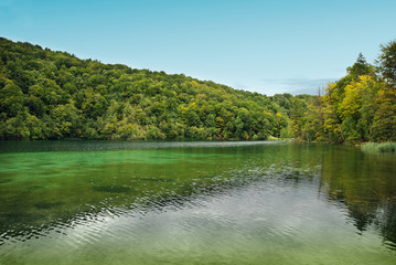 Big lake in a National park Plitvice lakes. Croatia