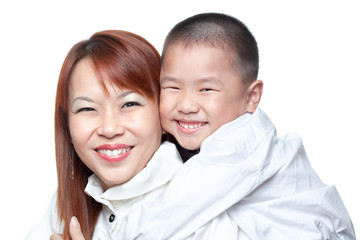 Asian Chinese boy hugs mum