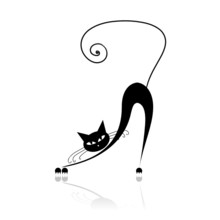 Czarny kot silhouette dla swojego projektu