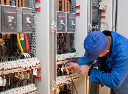 Leinwanddruck Bild electrician