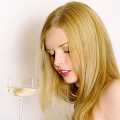 Beautiful  women with glass wine