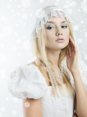 girl with snowflakes