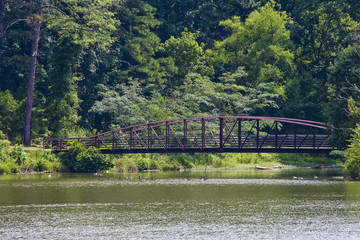 Old Rusty Bridge on Summer Lake