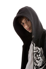 Portrait of young teenage man wearing hooded sweatshirt