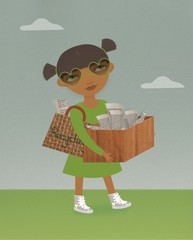 illustration of woman carrying recycling box