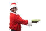 happy black santa claus holding a plate